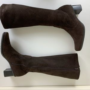 Franco Sarto Roxanne brown suede stretch boots 6.5